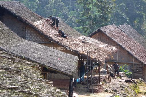 Atap rumah Kanekes/Baduy merupakan kombinasi antara Rumbia (janur kelapa) dan Ijuk.